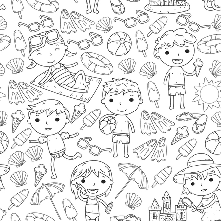 Little children play Summer camp, vacation Kindergarten and preschool kids Play, learn, grow together Sand castle, sunglasses, icecream, sun, ball Boys and girls vector pattern Ilustração