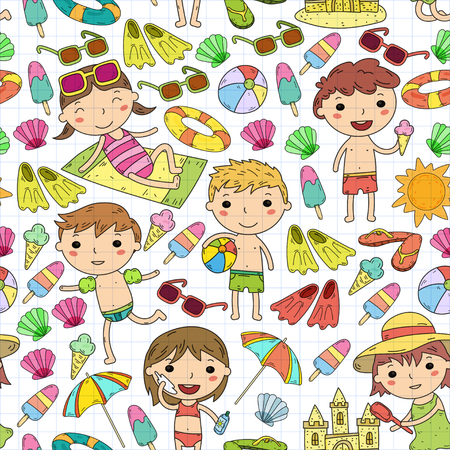 Little children play Summer camp, vacation Kindergarten and preschool kids Play, learn, grow together Sand castle, sunglasses, icecream, sun, ball Boys and girls vector pattern Standard-Bild - 95283009