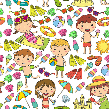 Little children play Summer camp, vacation Kindergarten and preschool kids Play, learn, grow together Sand castle, sunglasses, icecream, sun, ball Boys and girls vector pattern Standard-Bild - 95283022