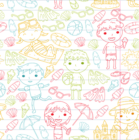 Little children play Summer camp, vacation Kindergarten and preschool kids Play, learn, grow together Sand castle, sunglasses, icecream, sun, ball Boys and girls vector pattern Standard-Bild - 95283036