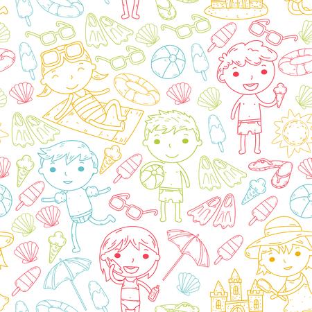 Little children play Summer camp, vacation Kindergarten and preschool kids Play, learn, grow together Sand castle, sunglasses, icecream, sun, ball Boys and girls vector pattern Standard-Bild - 95283056