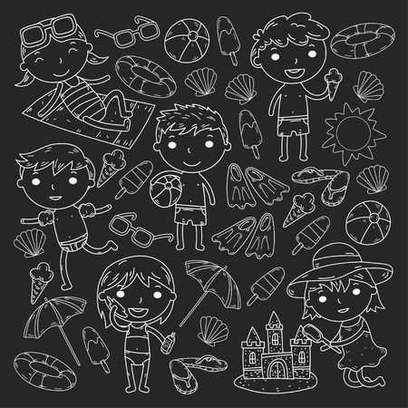 Little children play Summer camp, vacation Kindergarten and preschool kids Play, learn, grow together Sand castle, sunglasses, icecream, sun, ball Boys and girls vector pattern Standard-Bild - 95283060