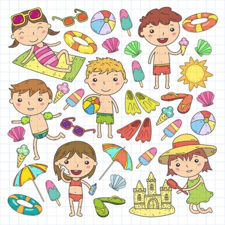 Little children play Summer camp, vacation Kindergarten and preschool kids Play, learn, grow together Sand castle, sunglasses, icecream, sun, ball Boys and girls vector pattern Standard-Bild - 95283070