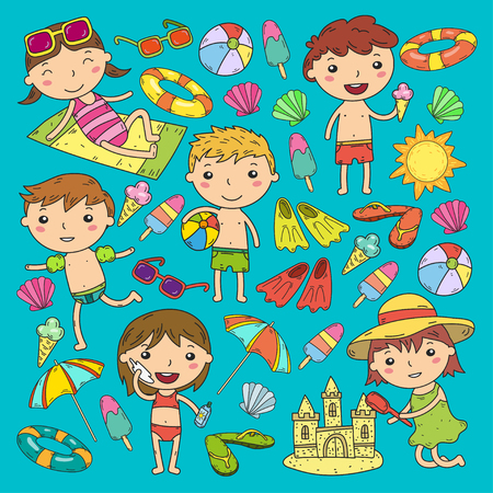 Little children play Summer camp, vacation Kindergarten and preschool kids Play, learn, grow together Sand castle, sunglasses, icecream, sun, ball Boys and girls vector pattern Standard-Bild - 95283075
