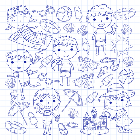 Little children play Summer camp, vacation Kindergarten and preschool kids Play, learn, grow together Sand castle, sunglasses, icecream, sun, ball Boys and girls vector pattern Standard-Bild - 95283082