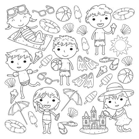 Little children play Summer camp, vacation Kindergarten and preschool kids Play, learn, grow together Sand castle, sunglasses, icecream, sun, ball Boys and girls vector pattern Standard-Bild - 95283083
