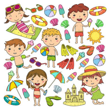 Little children play Summer camp, vacation Kindergarten and preschool kids Play, learn, grow together Sand castle, sunglasses, icecream, sun, ball Boys and girls vector pattern Standard-Bild - 95283093