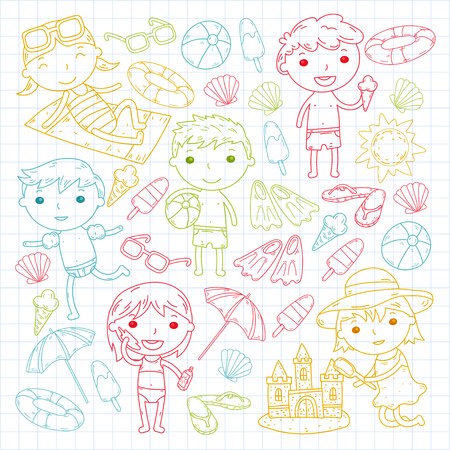 Little children play Summer camp, vacation Kindergarten and preschool kids Play, learn, grow together Sand castle, sunglasses, icecream, sun, ball Boys and girls vector pattern Standard-Bild - 95283182