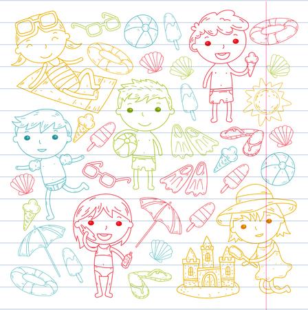 Little children play Summer camp, vacation Kindergarten and preschool kids Play, learn, grow together Sand castle, sunglasses, icecream, sun, ball Boys and girls vector pattern Standard-Bild - 95283191