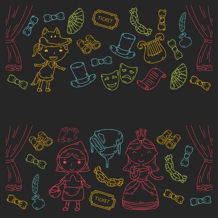 Kindervoorstelling in het theater. Kleuterschool musical. Schoolkinderen spelen. Podium, amusement, bioscoop. Kleine acteurs Stockfoto - 95306712