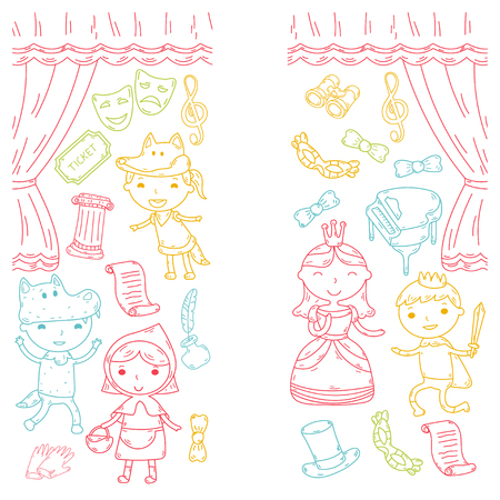 Childrens musical theater performance pattern design Illustration