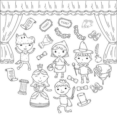 Childrens performance in the theater. Kindergarten musical. School kids playing. Stage, entertaiment, cinema. Little actors Stock Illustratie