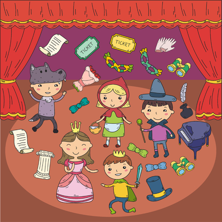Childrens performance in the theater. Kindergarten musical. School kids playing. Stage, entertaiment, cinema. Little actors Banque d'images - 95306797