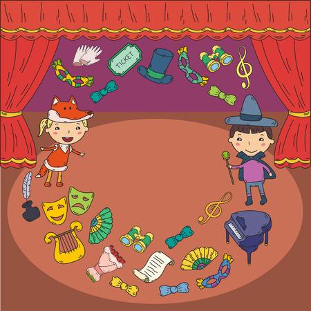 Enfants performance dans le théâtre de marionnettes au théâtre avec rideau de théâtre et le chant Banque d'images - 95304255