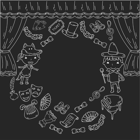 Childrens performance in the puppet theater at the theater with price, curtain and scenery. Stock Illustratie