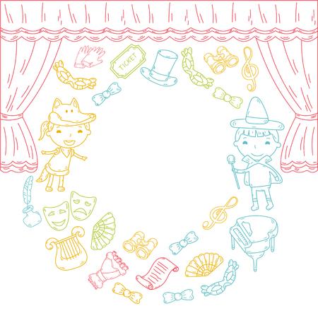 Enfants performance dans le théâtre de marionnettes au théâtre avec rideau de théâtre et le chant Banque d'images - 95304257