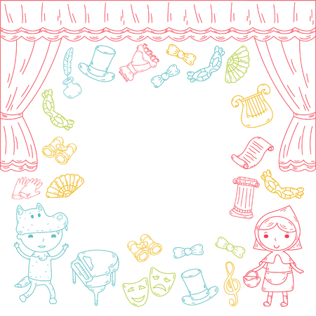 Childrens performance in the puppet theater at the theater with price, curtain and scenery. Illustration