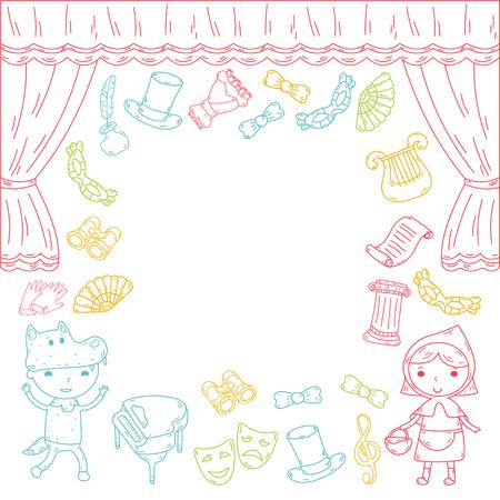 Enfants performance dans le théâtre de marionnettes au théâtre avec rideau de théâtre et le chant Banque d'images - 95305158