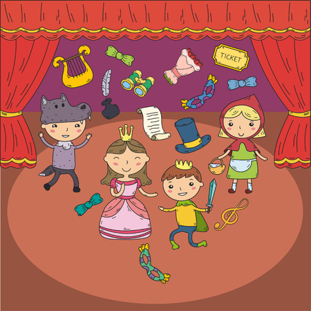 Childrens performance in the puppet theater at the theater with price, curtain and scenery. Çizim