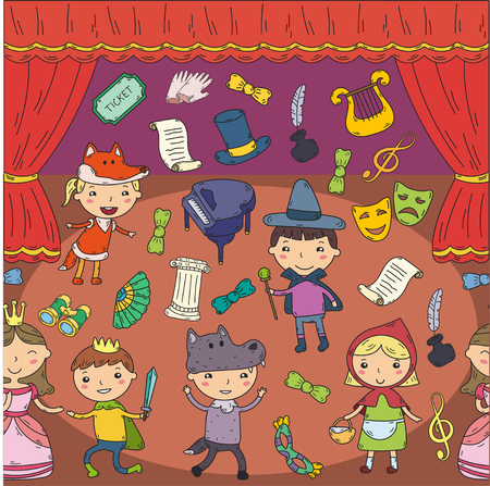 Childrens performance in the theater. Kindergarten musical. School kids playing. Stage, entertaiment, cinema. Little actors 일러스트
