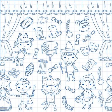 Enfants performance dans le théâtre de marionnettes au théâtre avec rideau de théâtre et le chant Banque d'images - 95305518