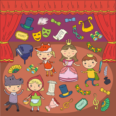 Childrens performance in the theater. Kindergarten musical. School kids playing. Stage, entertaiment, cinema. Little actors Stock Illustratie