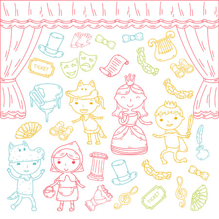 Childrens performance in the theater. Kindergarten musical. School kids playing. Stage, entertaiment, cinema. Little actors Illustration