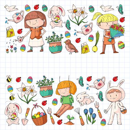 Spring children banners Kids play and grow. Kindergarten, school. Easter celebration with children. Stock Vector - 95738576