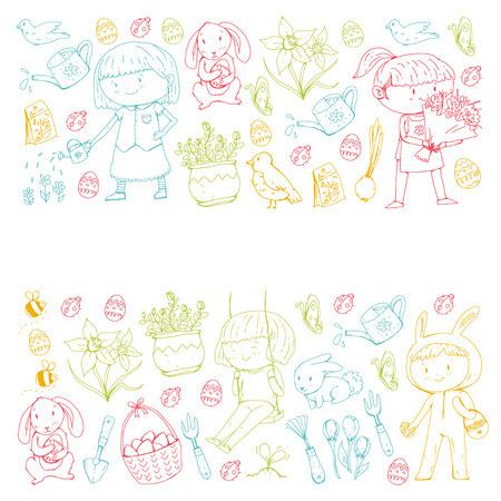 Spring children banners Kids play and grow. Kindergarten, school. Easter celebration with children.