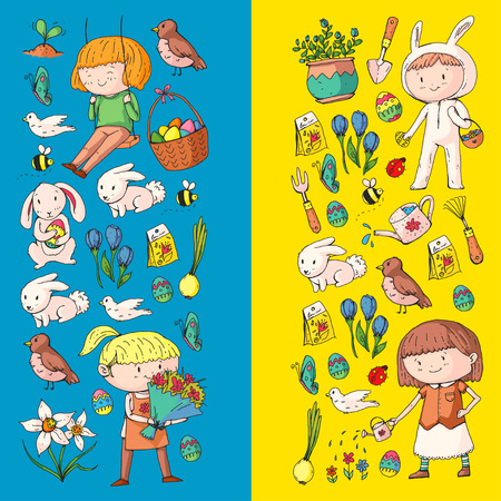 Spring children banners Kids play and grow. Kindergarten, school. Easter celebration with children.
