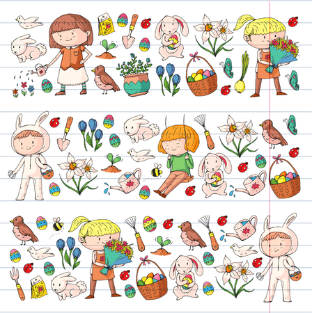 Spring children banners Kids play and grow. Kindergarten, school. Easter celebration with children. Stock Vector - 95740199