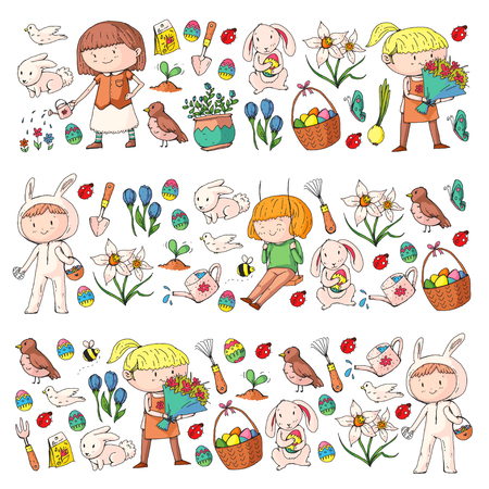 Spring children banners Kids play and grow. Kindergarten, school. Easter celebration with children. Banque d'images - 95740202