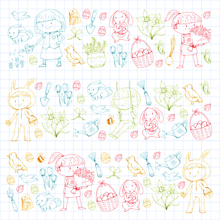 Spring children banners Kids play and grow. Kindergarten, school. Easter celebration with children. Stock Vector - 95740205