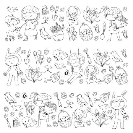 Spring children banners Kids play and grow. Kindergarten, school. Easter celebration with children. Stock Vector - 95740231