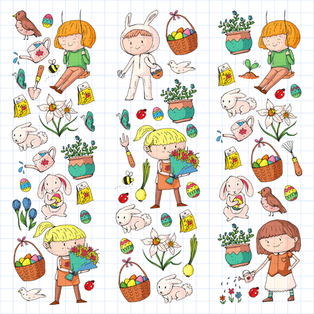 Spring children banners Kids play and grow. Kindergarten, school. Easter celebration with children. Banque d'images - 95740212