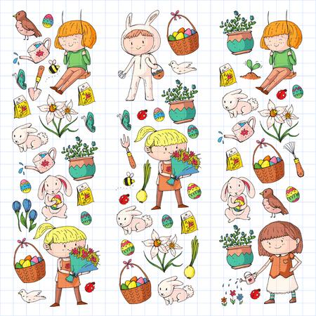 Spring children banners Kids play and grow. Kindergarten, school. Easter celebration with children. Stock Vector - 95740212