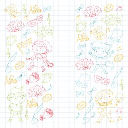 Children theatre patterns. Elements for design on the theatre. Collection of kids theatre symbols: mask, ticket, binocular. KIndergarten or school children perfomance. Doodle icons. Vector. Vettoriali
