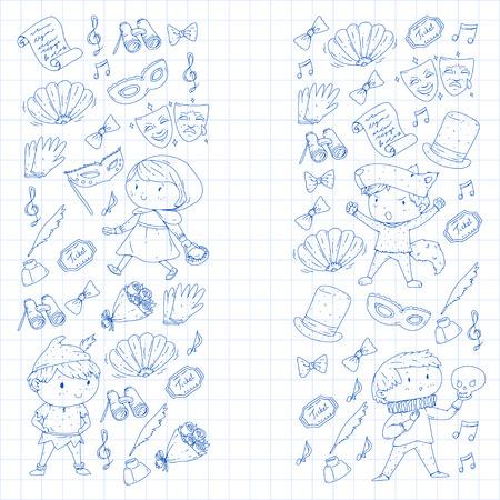어린이 극장 패턴 극장 디자인을위한 요소 아이 극장 기호 컬렉션 : 마스크, 티켓, 쌍 안 유치원 또는 학교 어린이 성능 낙서 아이콘 벡터