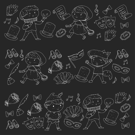 Children theatre patterns Elements for design on the theatre Collection of kids theatre symbols: mask, ticket, binocular KIndergarten or school children perfomance Doodle icons Vector Banque d'images - 95996424