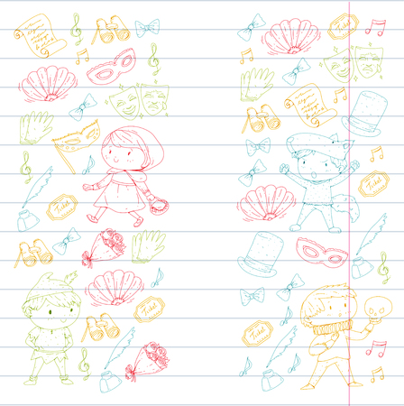 Children theatre patterns Elements for design on the theatre Collection of kids theatre symbols: mask, ticket, binocular KIndergarten or school children perfomance Doodle icons Vector Banque d'images - 95996427