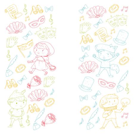 Children theatre patterns Elements for design on the theatre Collection of kids theatre symbols: mask, ticket, binocular KIndergarten or school children perfomance Doodle icons Vector Banque d'images - 95996429