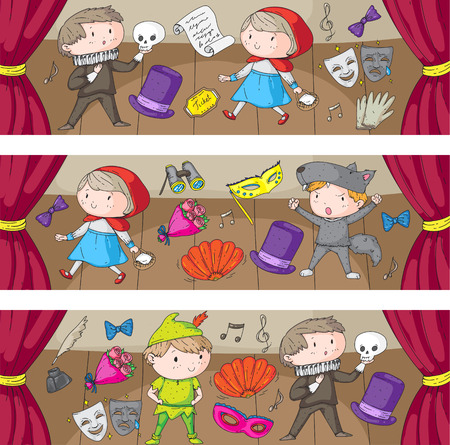 Children theatre patterns Elements for design on the theatre Collection of kids theatre symbols: mask, ticket, binocular KIndergarten or school children perfomance Doodle icons Vector Banque d'images - 95996430