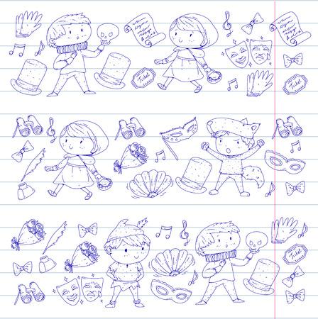 Children theatre patterns. Elements for design on the theatre. Collection of kids theatre symbols: mask, ticket, binocular. KIndergarten or school children perfomance. Doodle icons. Vector. Stock Illustratie