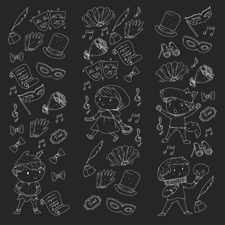 Children theatre patterns. Elements for design on the theatre. Collection of kids theatre symbols: mask, ticket, binocular. KIndergarten or school children perfomance. Doodle icons. Vector. Illustration