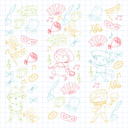 Children theater patterns, elements for design on the theater. Collection of kids theater symbols: mask, ticket, binocular. School children performance doodle icons vector. Banque d'images - 96014457