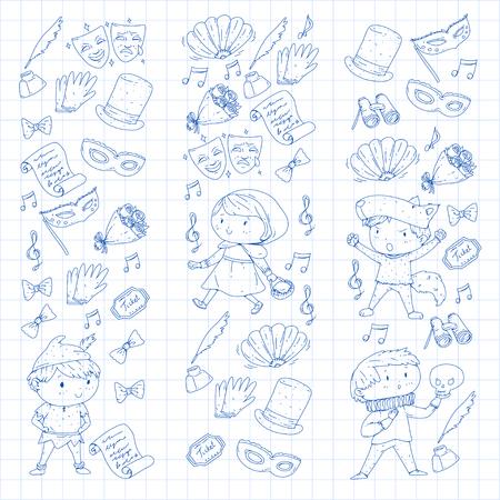 Children theatre patterns. Elements for design on the theatre. Collection of kids theatre symbols: mask, ticket, binocular. KIndergarten or school children perfomance. Doodle icons. Vector. Banque d'images - 96004653