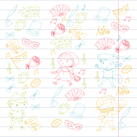 Children theatre patterns. Elements for design on the theatre. Collection of kids theatre symbols: mask, ticket, binocular. KIndergarten or school children perfomance. Doodle icons. Vector. Banque d'images - 96007499