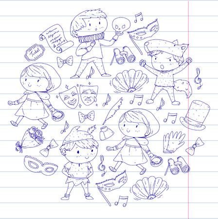 어린이 극장 패턴, 극장 디자인 요소. 키즈 극장 기호 컬렉션 : 마스크, 티켓, 쌍안경. 학교 어린이 성능 낙서 아이콘 벡터.
