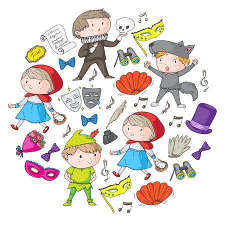 Children theatre patterns Elements for design on the theatre Collection of kids theatre symbols: mask, ticket, binocular KIndergarten or school children perfomance Doodle icons Vector
