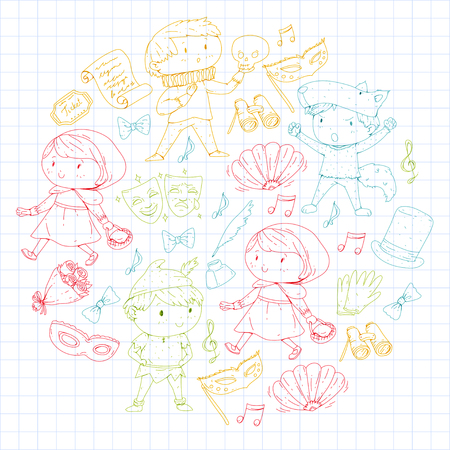 Children theatre patterns Elements for design on the theatre Collection of kids theatre symbols: mask, ticket, binocular KIndergarten or school children perfomance Doodle icons Vector Banque d'images - 95996604